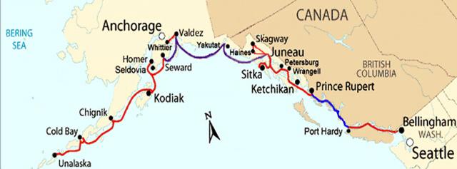 Seattle Washington Map >> Alaska Ferry Route Map: Ferries to Alaska